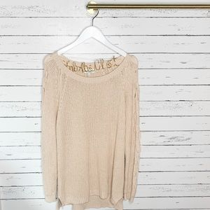 Lucky Brand Cream Braid Pullover Sweater